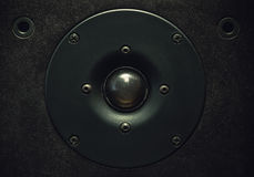 Tweeter Speaker Closeup. Black modern tweeter speaker, details and material Royalty Free Stock Photos
