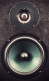 Tweeter and Woofer Closeup. Details of a black speaker, view on tweeter and woofer Royalty Free Stock Photos