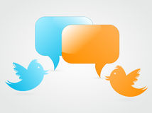 Tweeting. Bird to other follower Royalty Free Stock Photo