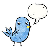 Tweeting bird cartoon Stock Image