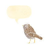 Tweeting bird retro illustration. Retro cartoon with texture. Isolated on White Royalty Free Stock Photography