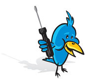 Tweeting repairer. Cartoon illustration of a smiling bird with a screwdriver, could be used as an application icon etc Royalty Free Stock Photo