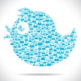 Tweetvogel machen mit Gruppe von Personen Lizenzfreie Stockfotos