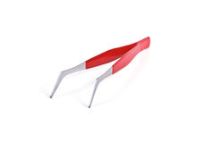 Tweezers. With a comfortable, non-slip coating, covered with red plastic  on white background Stock Images