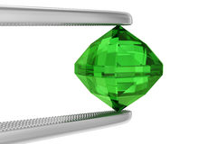 Tweezers and emerald. The tweezers holds a large emerald on white. 3D rendering Royalty Free Stock Photo