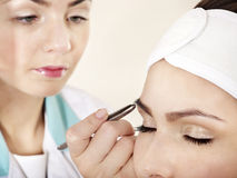 Tweezing eyebrow by beautician. Stock Images