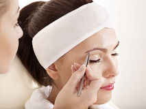 Tweezing eyebrow by beautician. Isolated Stock Images