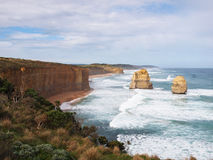 Twelve Apostle Lookout 2. Looking south east across a revegetation area from the main lookout at The Twelve Apostles, the Great Ocean Road Victoria. Shot early Royalty Free Stock Photo