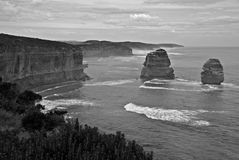 The Twelve Apostles. Along the Great Ocean Road in Austrlia in black and white stock image