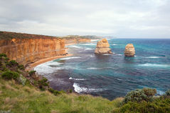 The Twelve Apostles. Famous eroded cliffs stacks in ocean waves (Pacific Ocean Royalty Free Stock Photo