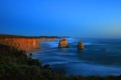 Twelve Apostles. Steep Australian south coast with the outstanding pinnacles, the so called twelve apostles Royalty Free Stock Image