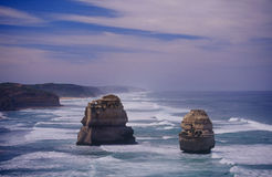 Twelve Apostles. Two of the sea stacks that make up the Twelve Apostles on Australia's Great Ocean Road Royalty Free Stock Image