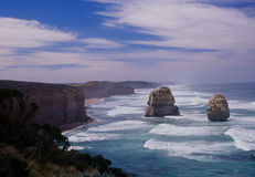 Twelve Apostles. Two of the sea stacks that make up the Twelve Apostles on Australia's Great Ocean Road Stock Images