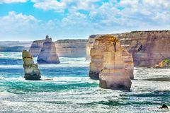 Twelve Apostles along Great Ocean Road in Australia royalty free stock photography