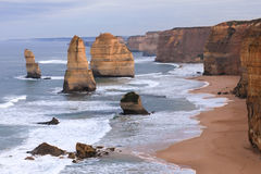 The Twelve Apostles along the Great Ocean Road, Australia. The Twelve Apostles along the Great Ocean Road, Australia with strong waves Stock Photos