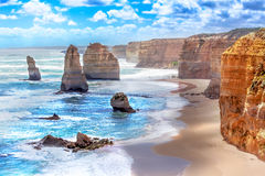 Twelve Apostles along the Great Ocean Road in Australia. Twelve Apostles and orange cliffs along the Great Ocean Road, Australia stock images