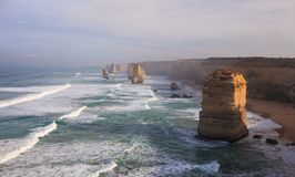 The Twelve Apostles along the Great Ocean Road, Victoria, Australia. Photographed at sunrise. Dawn fog stock photo