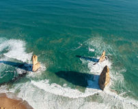 Twelve Apostles in Australia. Aerial view over the Twelve Apostles off the coast of Australia Royalty Free Stock Photography