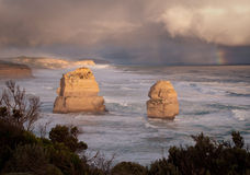 Twelve Apostles in Australia. Stormy skies over the Twelve Apostles off the coast of Australia Stock Image