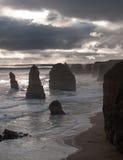 Twelve Apostles in Australia. Stormy skies over the Twelve Apostles off the coast of Australia Royalty Free Stock Photo