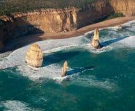 Twelve Apostles in Australia. Aerial view over the Twelve Apostles off the coast of Australia Royalty Free Stock Images