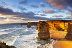 Twelve Apostles Australia. Twelve Apostles at sunset.  Great Ocean Road, Victoria, Australia Stock Images