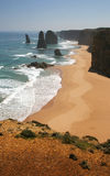 Twelve Apostles Australia. A westerly view of three of the Twelve Apostles from a look out along the Great Ocean Road from Port Cambell in Victoria, southern Stock Photo