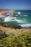 Twelve Apostles, Australia. An easterly view of two of the Twelve Apostles from a look out along the Great Ocean Road from Port Cambell in Victoria, southern Royalty Free Stock Photography
