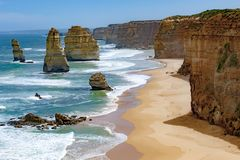 Twelve Apostles, Australia, morning light at rock formation Twelve Apostles Stock Image