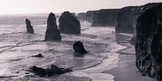 The Twelve Apostles backlit in black and white Stock Images