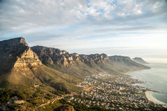 Twelve Apostles and Camps Bay. The Twelve Apostles and Camps Bay as seen from the summit of Lion's Head in Cape Town, South Africa Stock Image