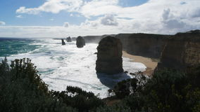 Twelve apostles close up. Close up shot  as the famous twelve apostles in victoria are backlit by a late afternoon sun stock video footage