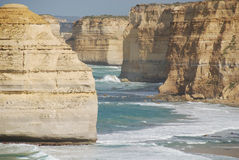 Twelve Apostles closeup. Closeup view of The Twelve Apostles, a collection of limestone stacks in the Southern Ocean offshore of Port Campbell National Park in stock photos