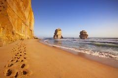 Twelve Apostles on the Great Ocean Road, Australia at sunset Royalty Free Stock Photo