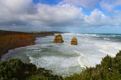Twelve Apostles on Great Ocean Road during breezy day. Twelve Apostles with big waves during breezy day on Great Ocean Road in Australia Royalty Free Stock Photography