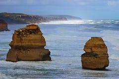 Twelve Apostles on Great Ocean Road during breezy day. Twelve Apostles with big waves during breezy day on Great Ocean Road in Australia Royalty Free Stock Images