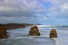 Twelve Apostles on Great Ocean Road during breezy day Stock Photography