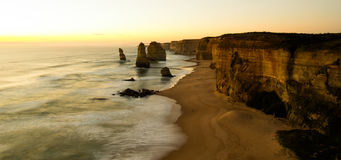 The Twelve Apostles. The Twelve  Apostles, Great Ocean Road in Victoria, Australia, taken at sunset on a long exposure Stock Photo