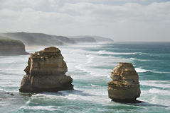 Twelve Apostles landmark. Two of the limestone stacks that are part of the landmark Twelve Apostles, located in the Southern Ocean off of Port Campbell National royalty free stock photo