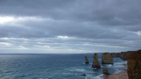 Twelve Apostles monuments. Panoramic dusk time-lapse of monuments, Port Campbell national park stock footage