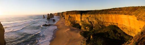 Twelve Apostles Panorama. A panorama of the Twelve Apostles at sunset, Victoria, Australia Royalty Free Stock Photography