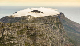 Twelve Apostles Ridgeline South Africa. Cloudy ridgeline of the Twelve Apostles as viewed from the top of Cape Town`s Table Mountain, South Africa Royalty Free Stock Image