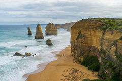 Twelve Apostles Rock Formation. The twelve apostles rock formation along the Great Ocean Rock.  One of Australia's famous natural landmarks Stock Images