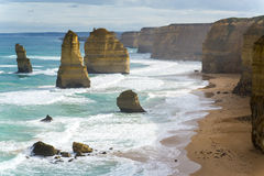 Twelve Apostles Rock Formation. The twelve apostles rock formation along the Great Ocean Rock.  One of Australia's famous natural landmarks Stock Photos