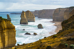 Twelve Apostles Rock Formation. The twelve apostles rock formation along the Great Ocean Rock.  One of Australia's famous natural landmarks Royalty Free Stock Images