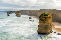 Twelve Apostles Rock Formation. The twelve apostles rock formation along the Great Ocean Rock.  One of Australia's famous natural landmarks Royalty Free Stock Image