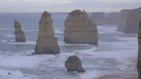 Twelve Apostles rock formations along coast. Australia stock footage