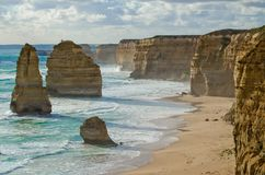 Twelve Apostles rock formations, Great Ocean Road. This scene shows the light and shadow that occurred in the afternoon royalty free stock image