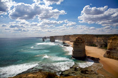 Twelve Apostles Scenic view in Australia. Great Ocean Road with a view of twelve apostles in Australia Royalty Free Stock Images