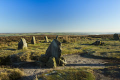 Twelve apostles stone circle ilkley moor. A close up view of part of the twelve apostles stone circle on Ilkley Moor, in West Yorkshire, England. In the far stock images